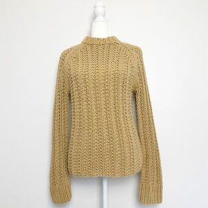 J. Crew Hand Knitted Chunky Mock Neck Sweater Camel Tan Medium